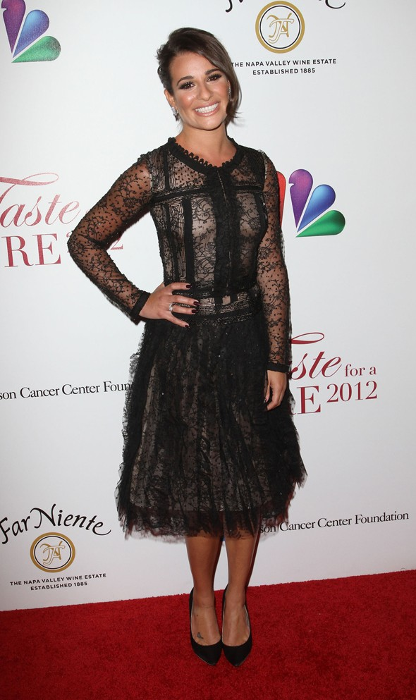 Lea Michele is luscious in lace for charity event