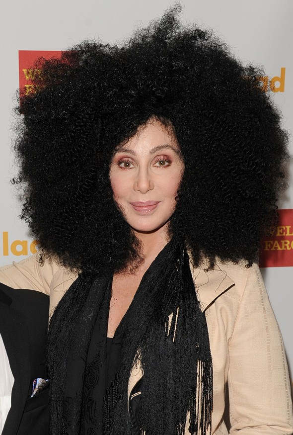 Cher ensures all eyes are on her in Afro wig at GLAAD Awards