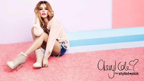 Cheryl Cole modelling her StylistPick shoe collection