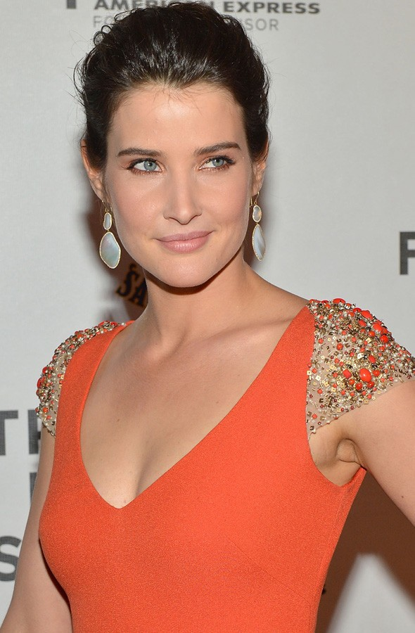Cobie Smulders in orange Reem Acra at The Avengers New York premiere