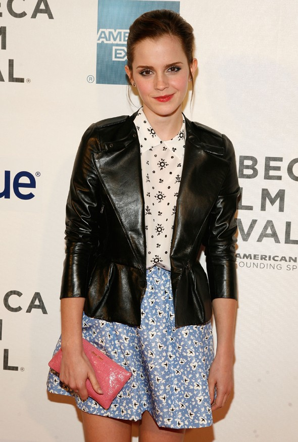Hot or not: Emma Watson mixes prints and leather