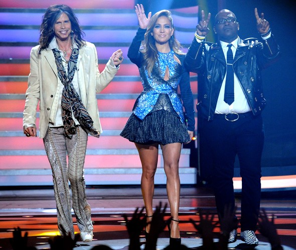 Steven Tyler, Jennifer Lopez and Randy Jackson on the American Idol stage