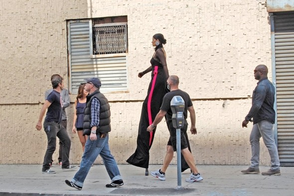 Living the high life: Nelly Furtado towers on stilts for new music video