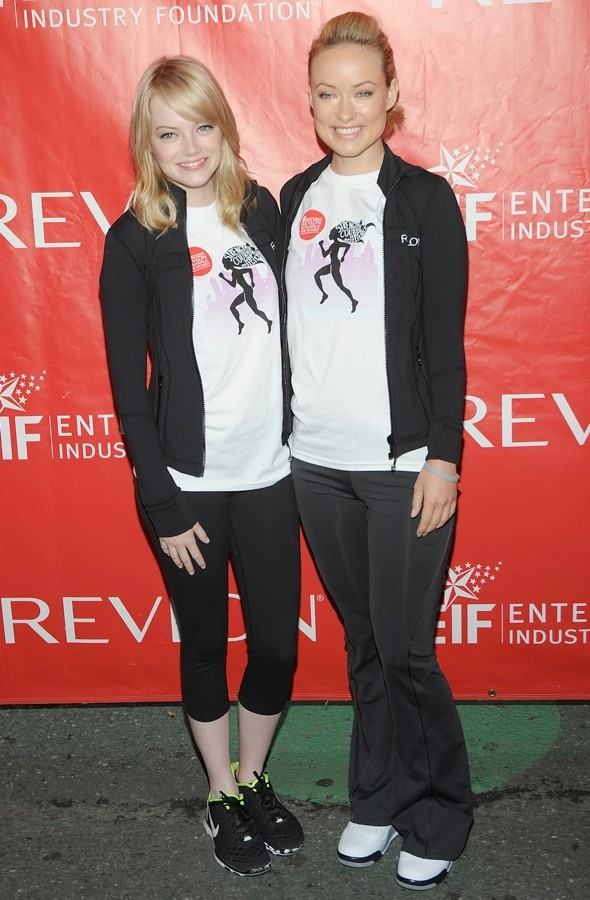Running away with style: Emma Stone and Olivia Wilde get active for charity