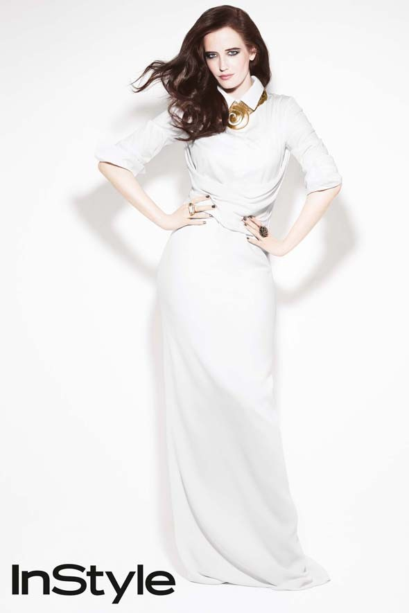 All white: Eva Green for InStyle