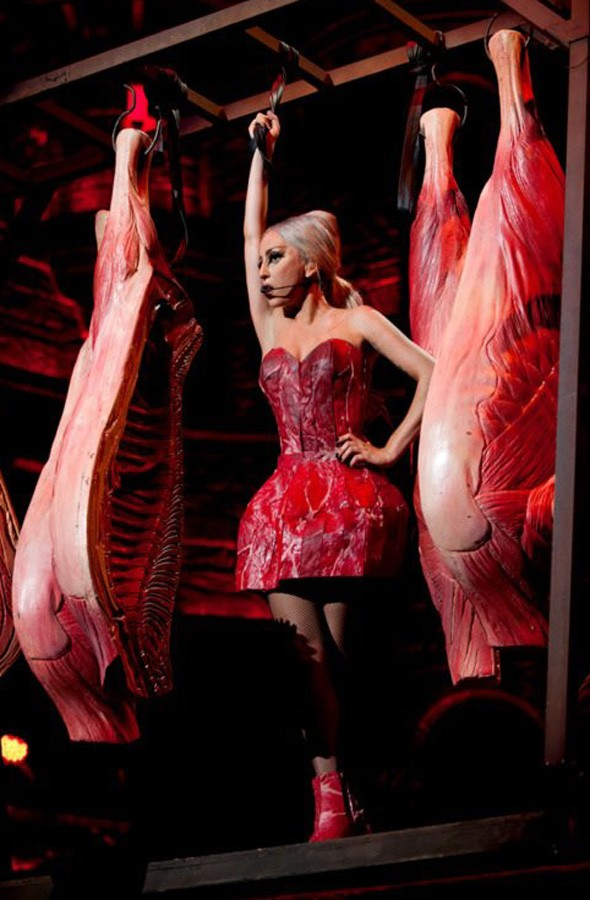 Lady Gaga wears new take on the meat dress during Born This Way Ball tour