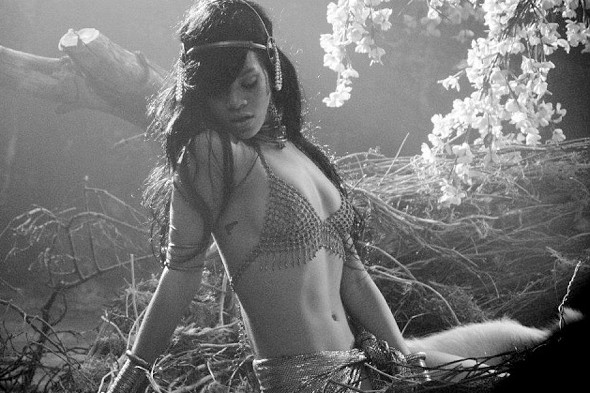 Behind the scenes: Racy Rihanna goes topless for new video