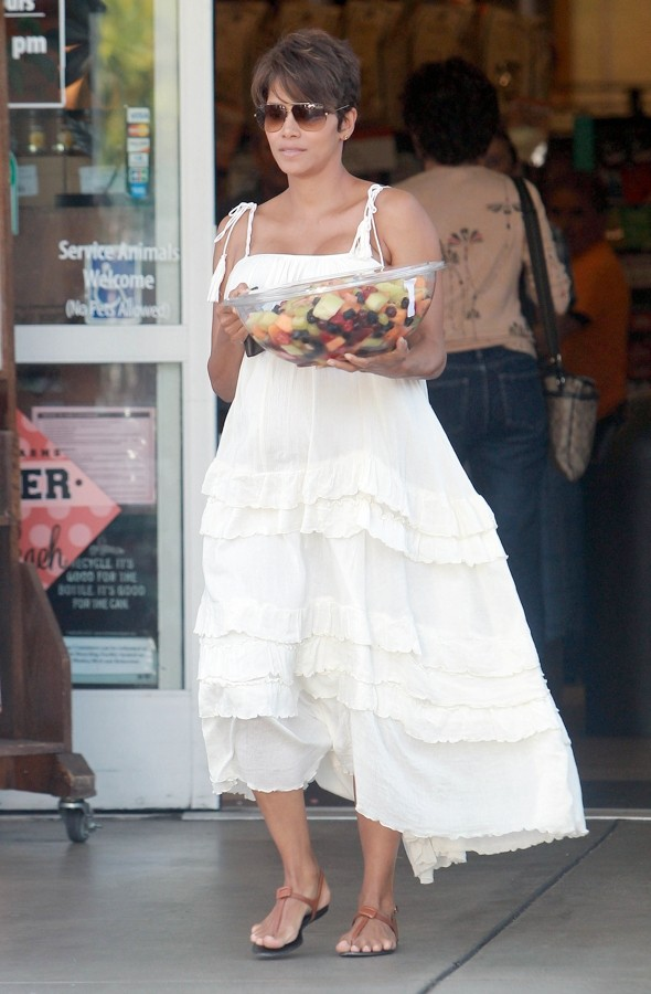 Fruity! Halle Berry Shows Off Summery Maxidress Maternity Style