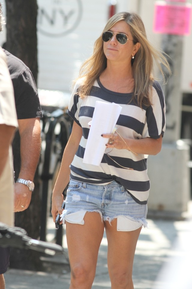 Jennifer Aniston Flashes Her Pins (Again) In Teeny Denim Shorts