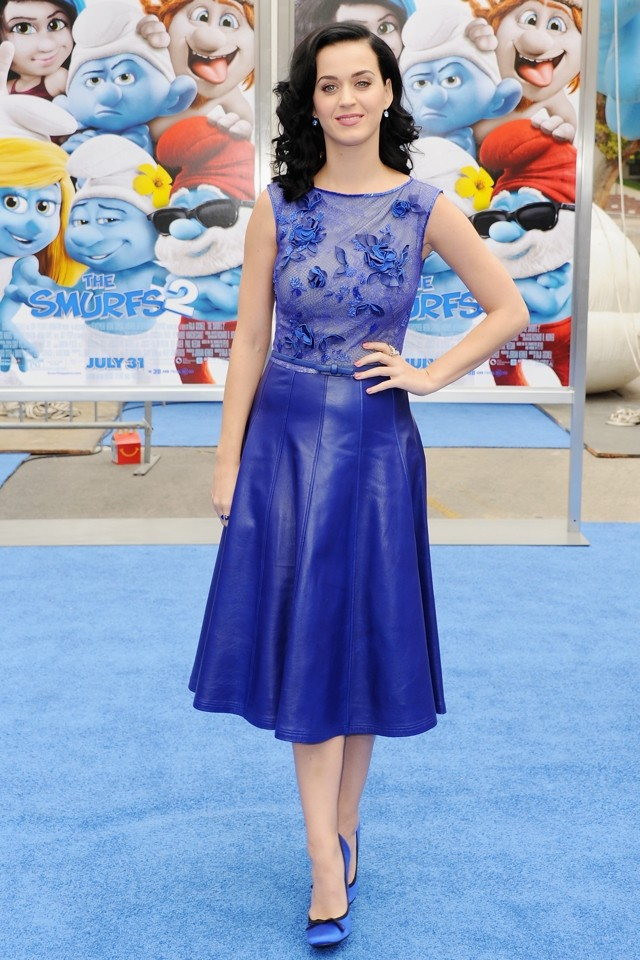 Katy Perry Is A Blue Belle At Smurfs 2 LA Premiere