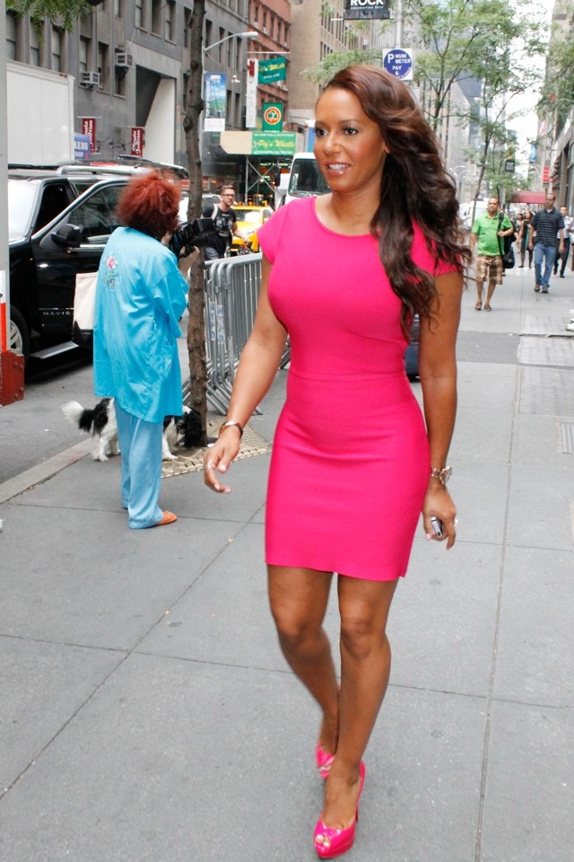 Pink To Make The Boys Wink! Mel B Does Bright Bodycon For Today Show