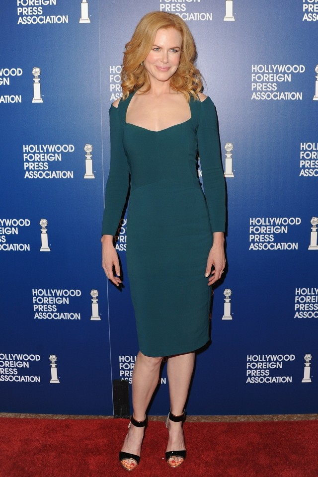 Green Dream! Nicole Kidman Is Flawless In Bodycon At HFPA Installation Luncheon 2013