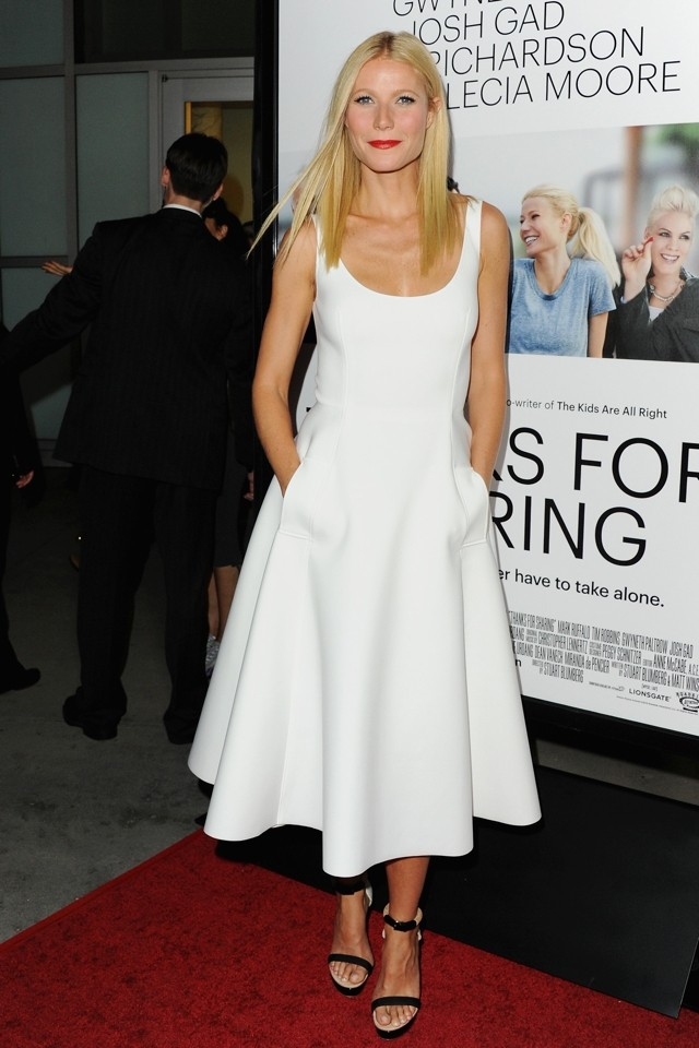 White Night: Gwyneth Paltrow Does Preppy Midi Dress At Thanks For Sharing LA Premiere