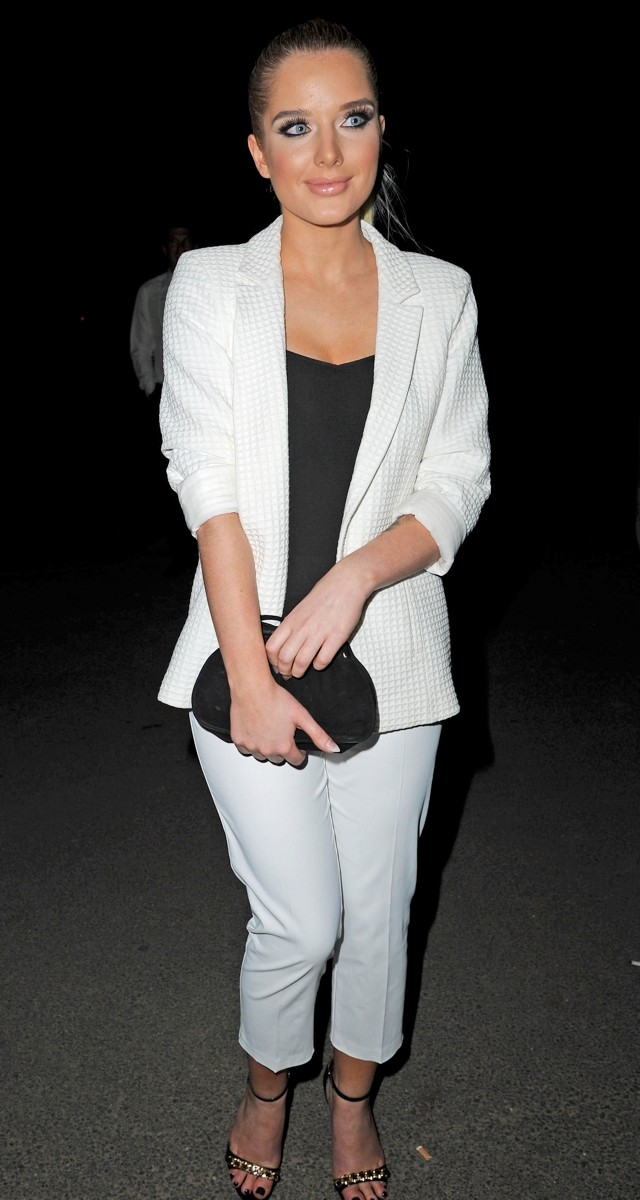 Shock, Horror! Helen Flanagan Goes Classy And Covers Up In White Trouser Suit