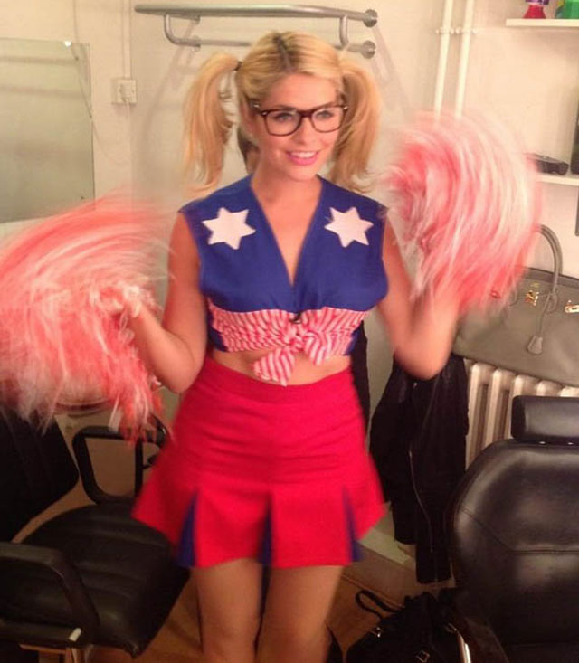 holly willoughby dressed as a cheerleader for celebrity juice