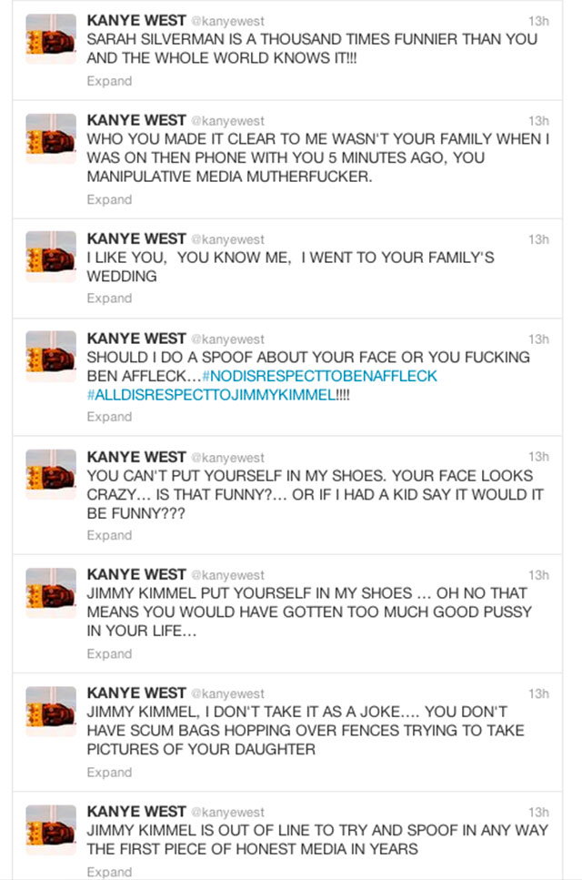 jimmy kimmel kanye west twitter row