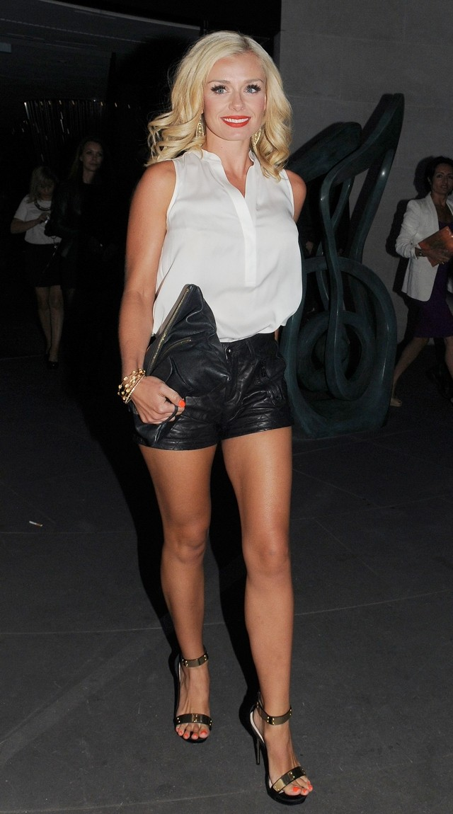 Katherine Jenkins Shows Off Perfect Pins In Leather Shorts For London Night Out