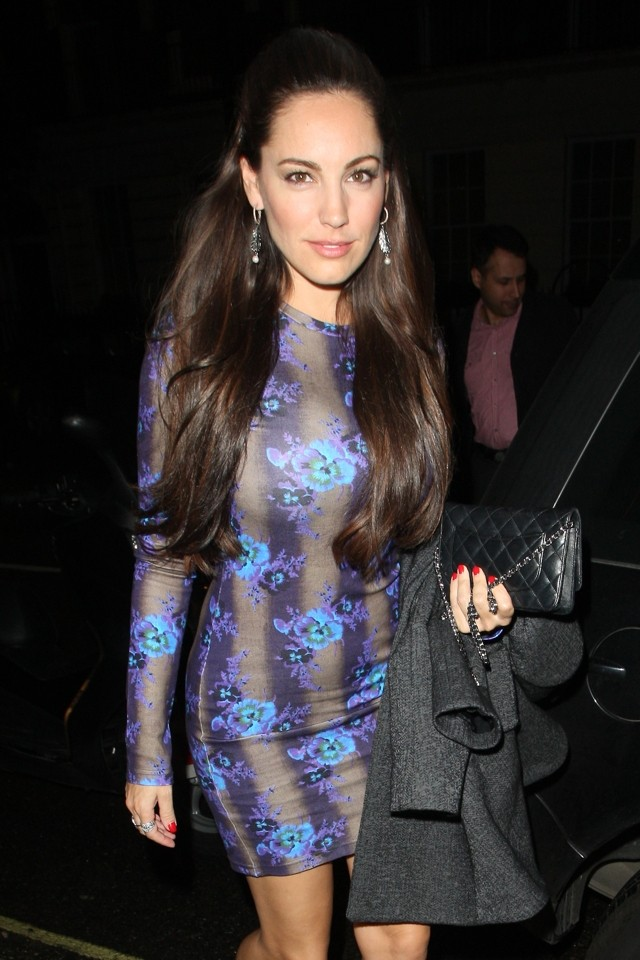 Bloomin' Lovely! Kelly Brook Wows In Floral Blue Minidress For Night Out At Zuma