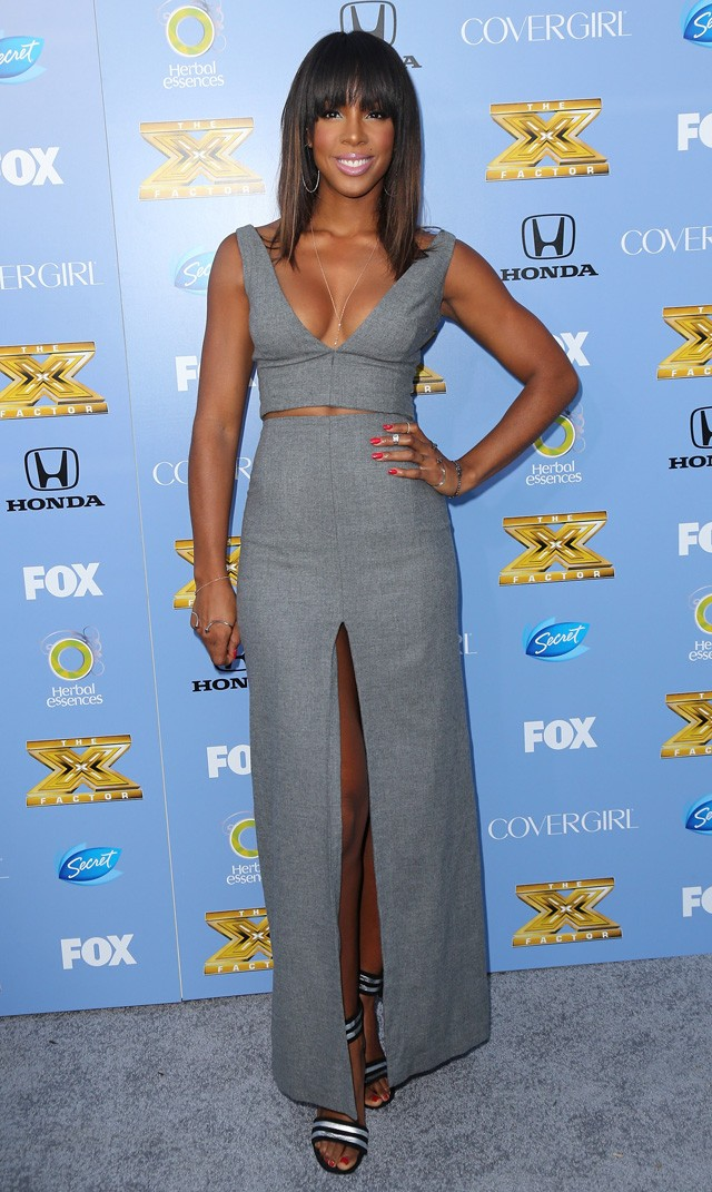 kelly rowland in revealing grey dress at US x factor premiere