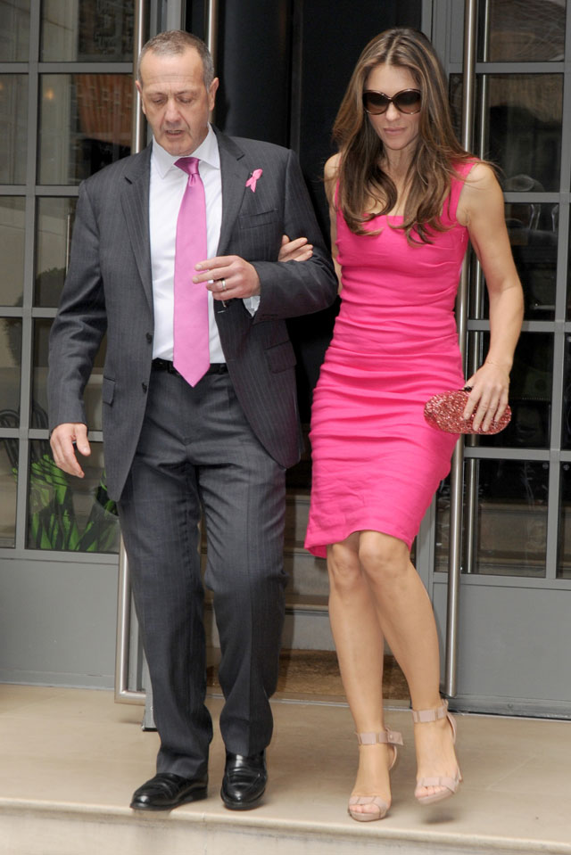 Liz Hurley In The Pink For Charity Activities In London