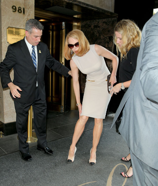 Nicole Kidman Knocked To Ground By Cyclist At New York Fashion Week