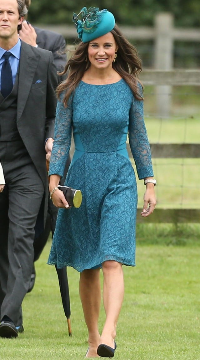Pippa Middleton Works Teal-Blue Lace For Society Wedding On Norfolk