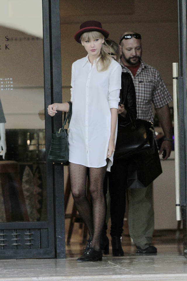 Taylor Swifts Fashion Fail White Dress Black Tights Boater Hat