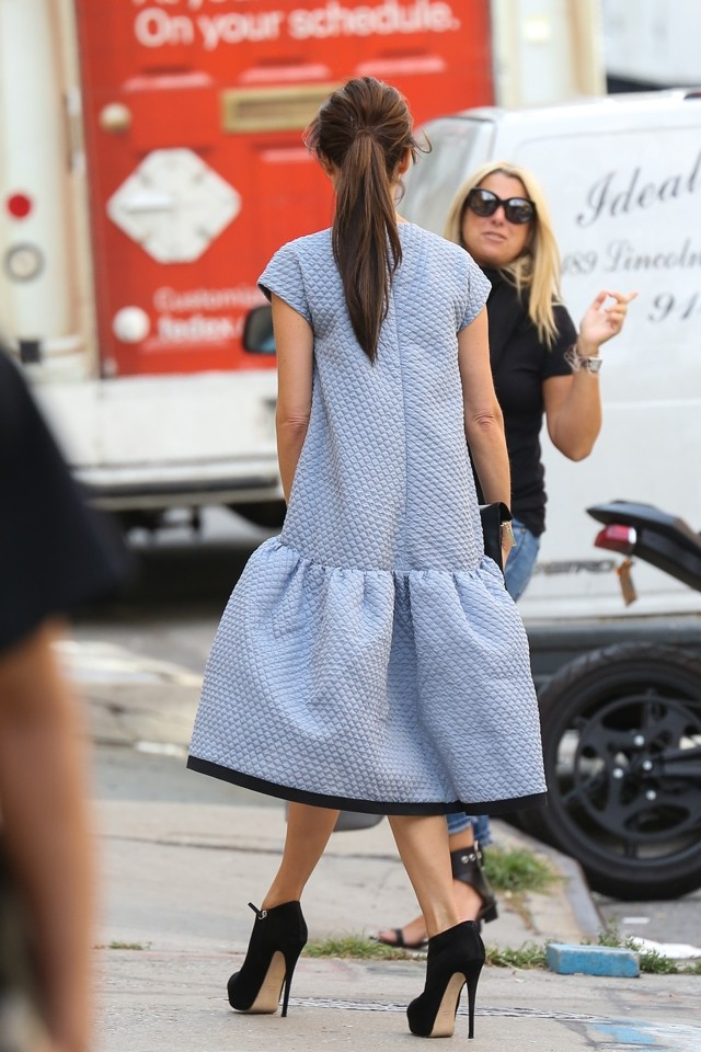 Where's Posh? Victoria Beckham Hides Her Frame Under Billowing Tent Dress In NY