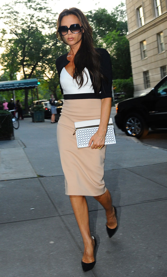 victoria beckham steps out in pencil skirt in new york