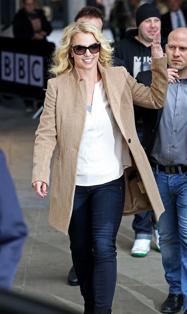 Britney's Laid Back London Look: Camel Coat And Corkscrew Curls