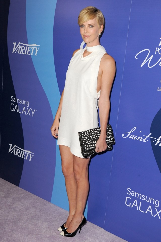 Wow! Charlize Theron Shows Off Pins In White Minidress At 2013 Variety Power Of Women