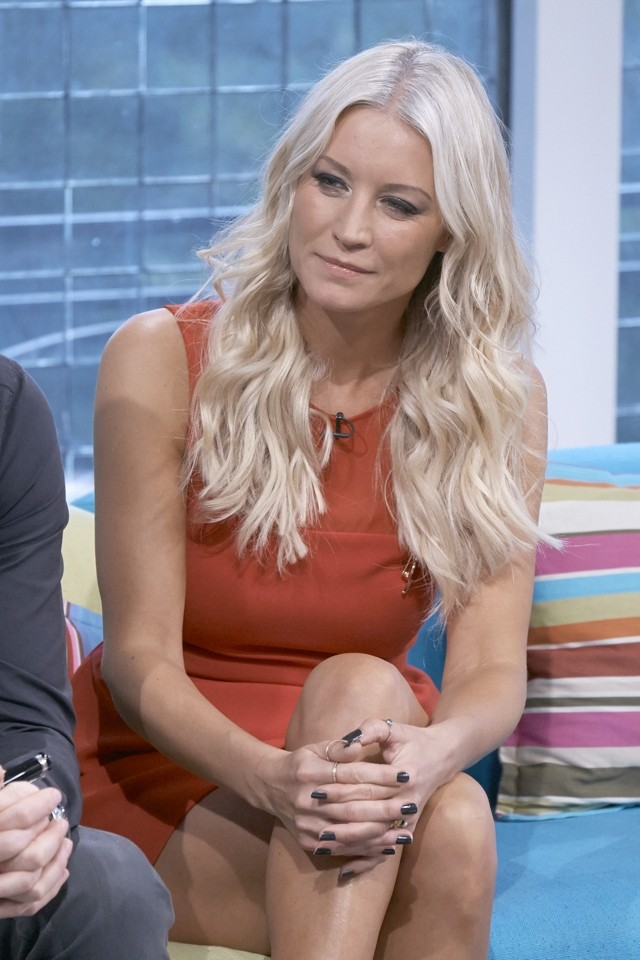 red hot  denise van outen wows in bright red mini for tv