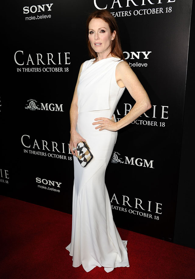 Wow! Julianne Moore Steals The Show In Top-To-Toe White At Carrie Premiere