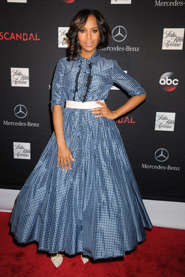 Kerry Washington's Blue Ruffle Dress For Scandal Premiere: Triumph Or Too Much?