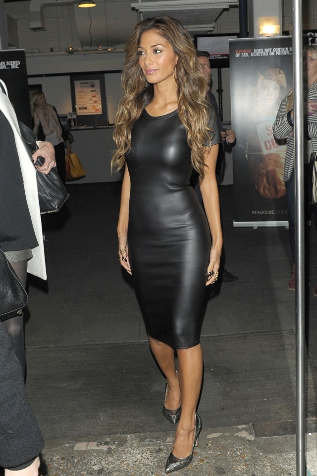 Nicole Scherzinger Vamps It Up In Skintight Leather Dress