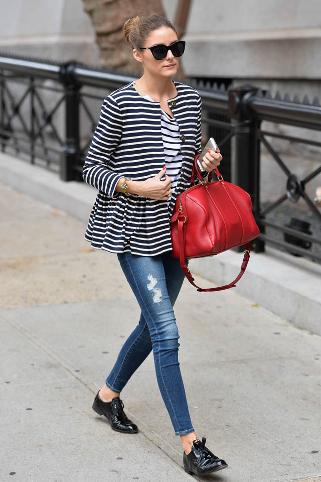 Olivia Palermo S Street Style Skinny Jeans Stripes And