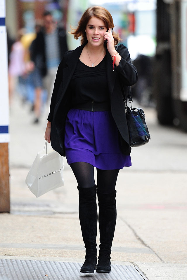 Princess Eugenie's NYC Workwear - Black Blazer, Blue Shorts And Comfy Flats
