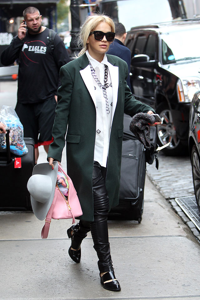 Rita Ora's Super Chic New York Style: Leather Trousers, Green Coat And Floppy Fedora