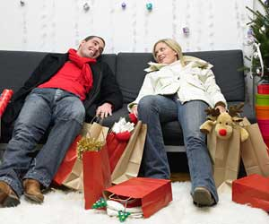 Exhausted Christmas shoppers