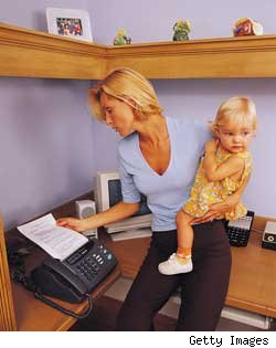 working mother at home