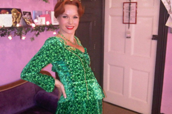 Pregnant Amanda Holden shows off growing baby bump in Princess Fiona costume