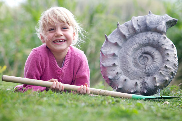 Emily Baldry with the rare ammonite she dug up