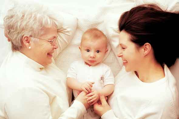 Grandmother, baby, mother
