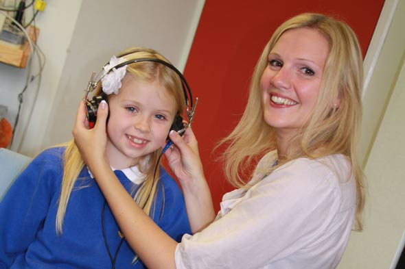 Kennedy Parkin with her hearing aid