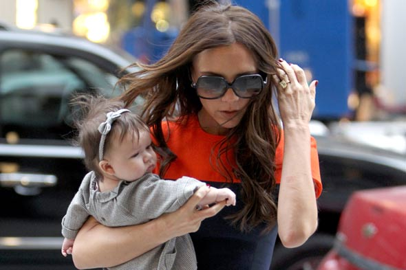 Harper Seven Beckham ditches the brown socks for NAVY tights