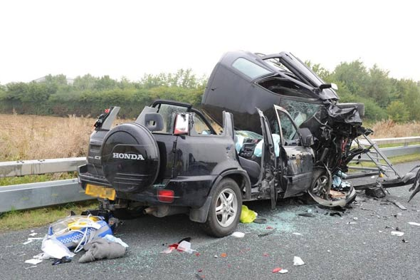 Photos released of horror crash in which seven year-old saw drink-driving dad die next to him