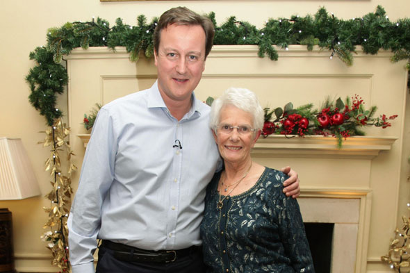 Foster mother Doreen Roberts and Prime Minister David Cameron at Downing Street
