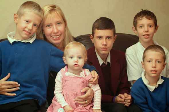 Trish Corcoran and her four sons and daughter Evie