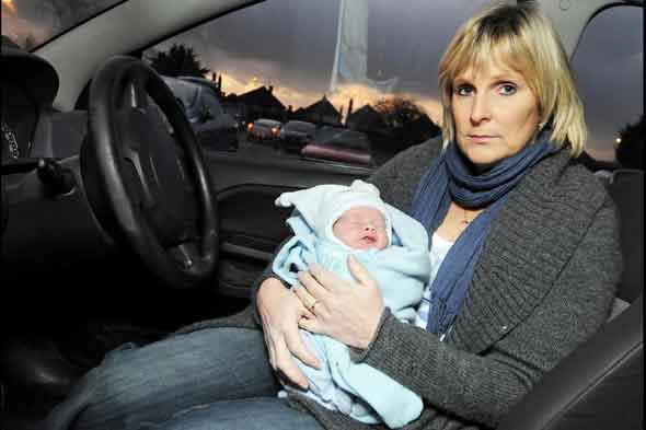 Sian Vaughan with baby