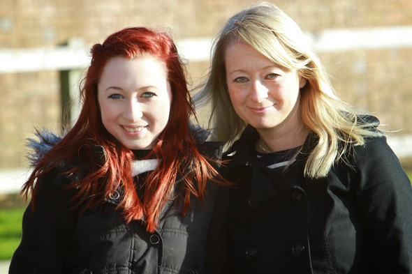 Laura Fitzwalter and mum Tracy after Laura's back operation